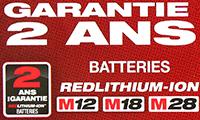 Garantie 2 ans Batteries Redlithium-Ion M12 M18 M28